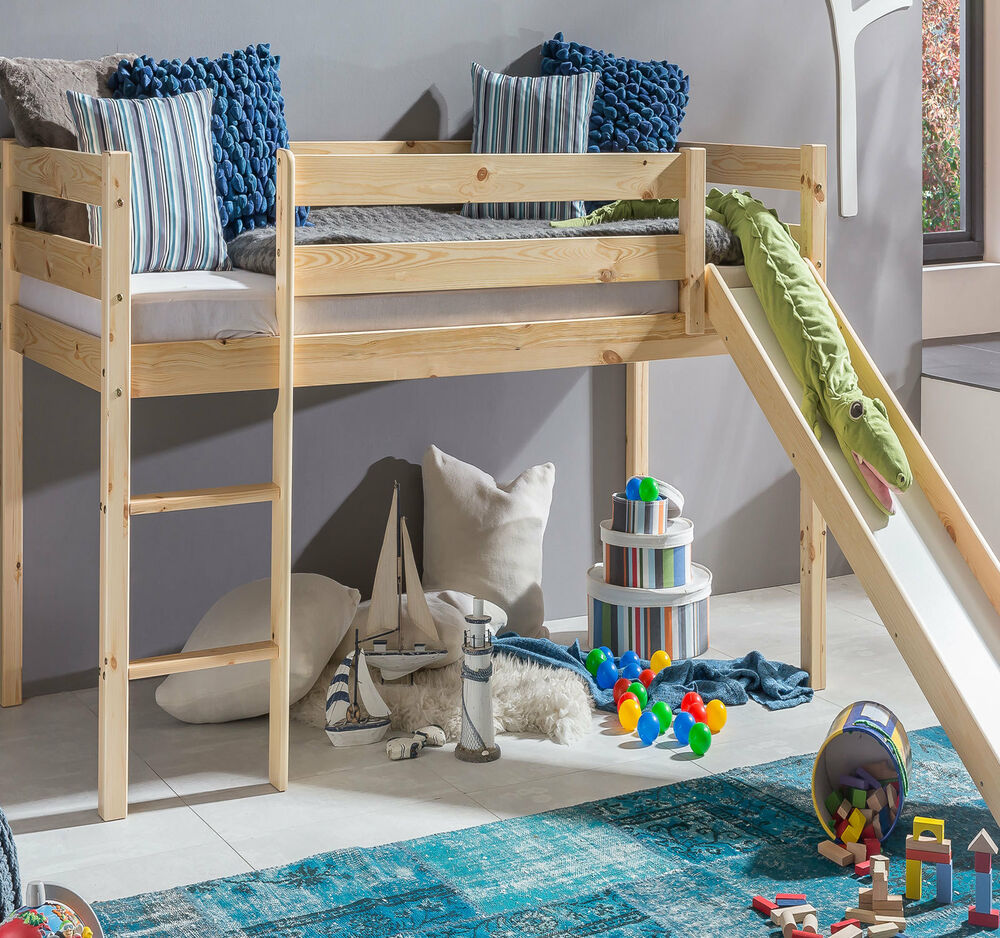 kinderbett hochbett mit rutsche leiter hochbett spielbett kiefer massiv bett ebay. Black Bedroom Furniture Sets. Home Design Ideas