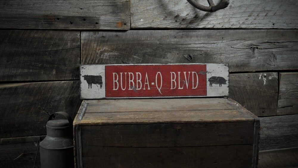 Custom Bbq Blvd Cow Amp Pig Sign Rustic Hand Made Vintage