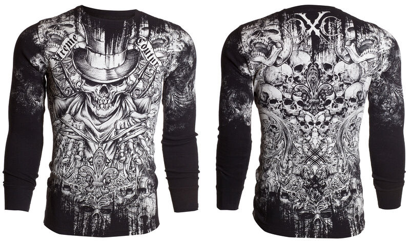 Xtreme Couture Affliction Mens Thermal T Shirt Offering Tattoo Biker S 3xl 58 A Ebay