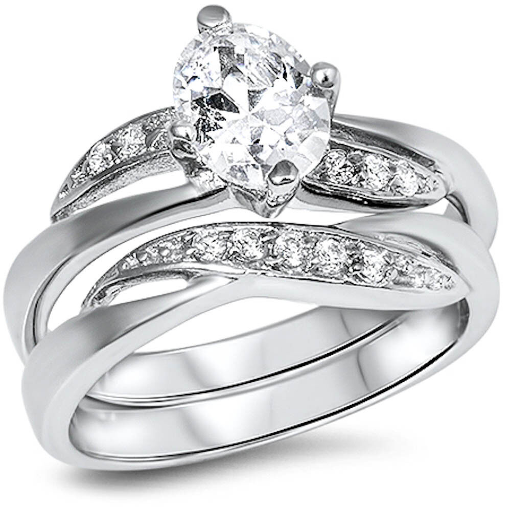 sterling silver wedding ring cz wedding engagement set 925 sterling silver ring 7706