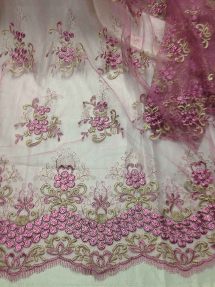 Rose gold embroidery mesh lace fabric quot wide yard ebay