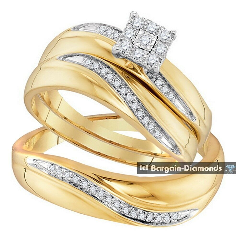 Diamond 22 carat 3 ring bridal 10k gold engagement for Ebay diamond wedding ring sets