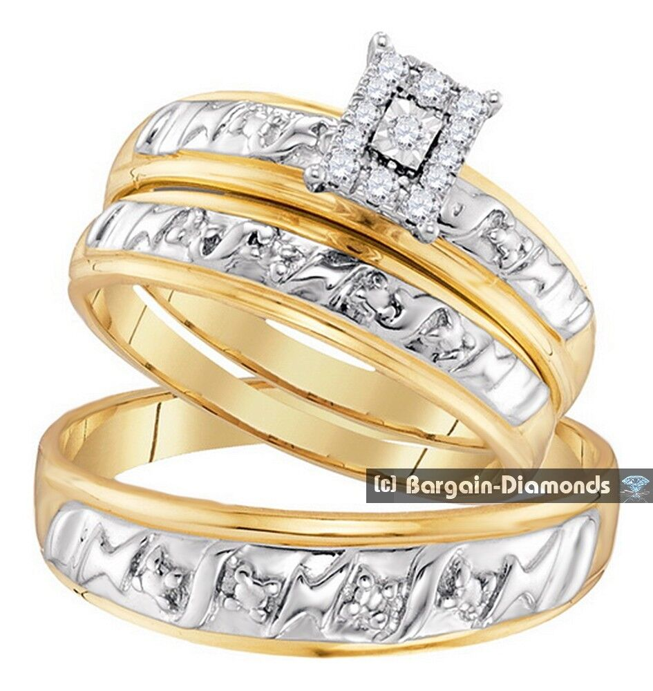 gold wedding rings sets 11 carat 3 ring bridal 10k gold engagement 4561