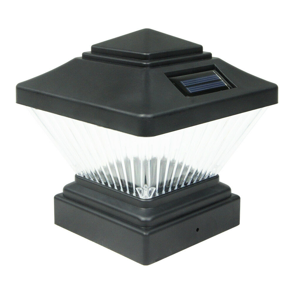 8 black outdoor garden solar led post deck cap square for Led yard lights