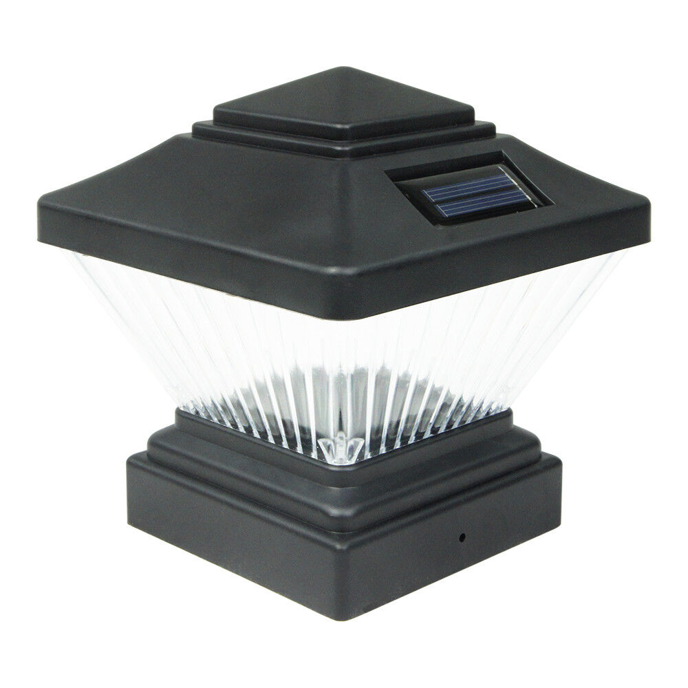 Outdoor Post Lights Led: 8 Black Outdoor Garden Solar LED Post Deck Cap Square