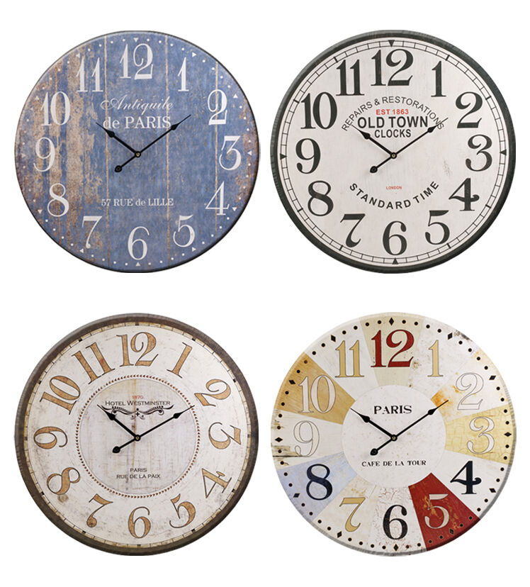 60cm Extra Large Round Wooden Wall Clock Vintage Retro