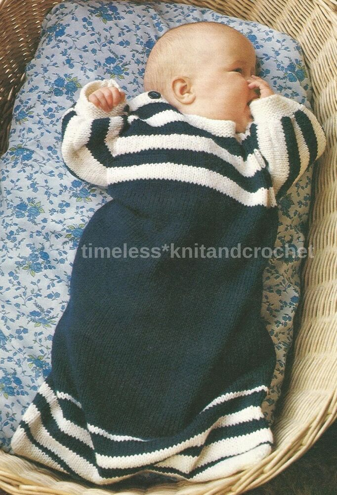 Baby Sleeping Bag Knitting Pattern : VINTAGE KNITTING PATTERN FOR BABYS / BABIES COSY SLEEPING BAG - DK eBay