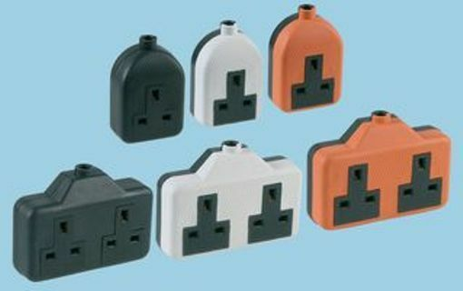 13a Rubber Mains Extension Sockets Single Or Double Orange