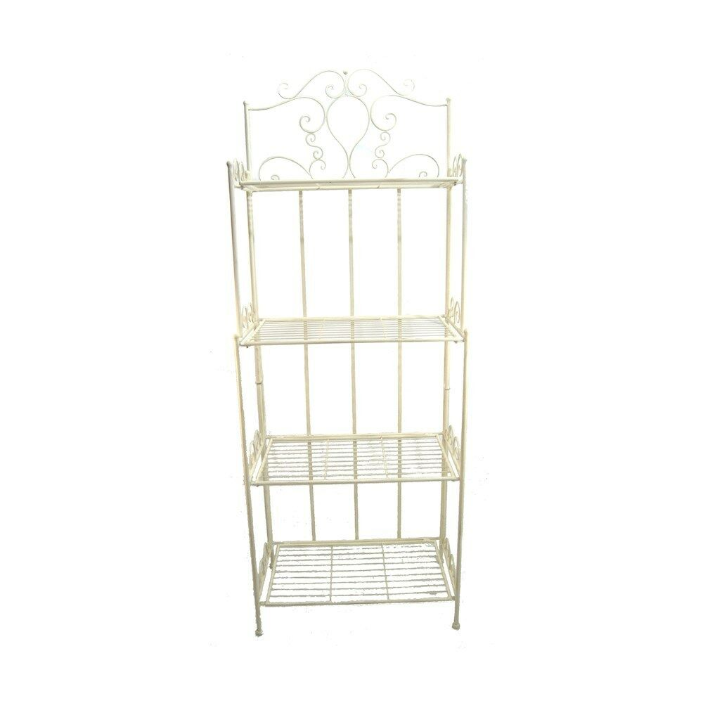 Vintage Shabby Chic French Look 4 Tier Metal Shelf Display