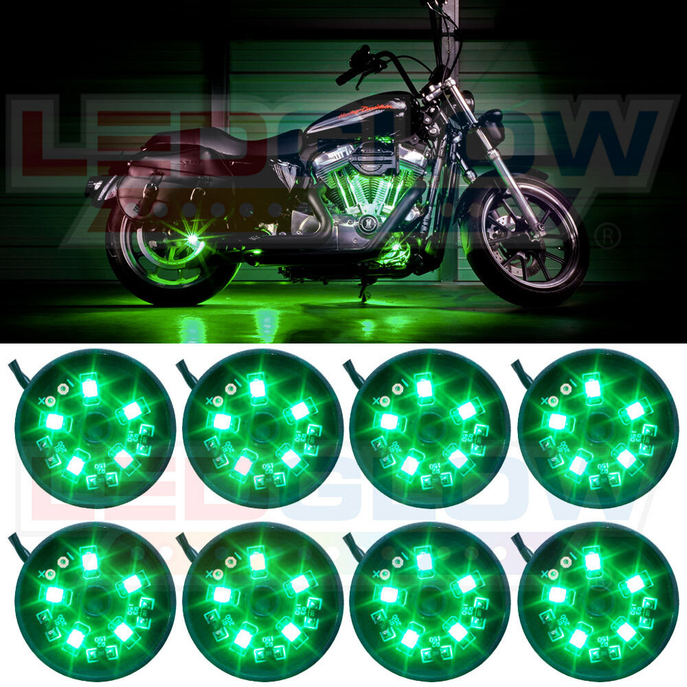 8pc ledglow green led pod motorcycle accent underglow lights kit w power switch ebay - Underglow neon ...