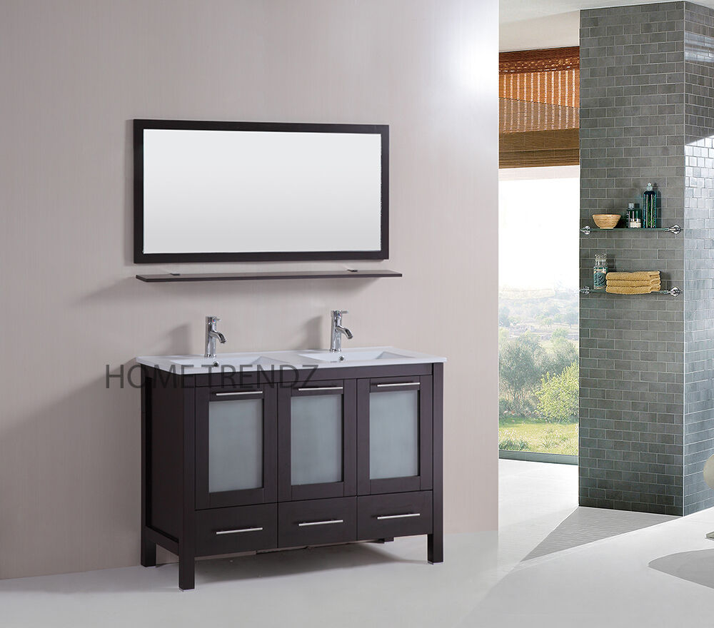 48 double vanity bathroom ceramic sink cabinet combo set w mirrors faucet 80 ebay. Black Bedroom Furniture Sets. Home Design Ideas