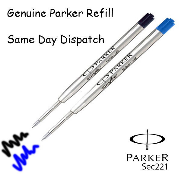 Genuine Parker Ballpoint Refill Biro Medium Black Blue