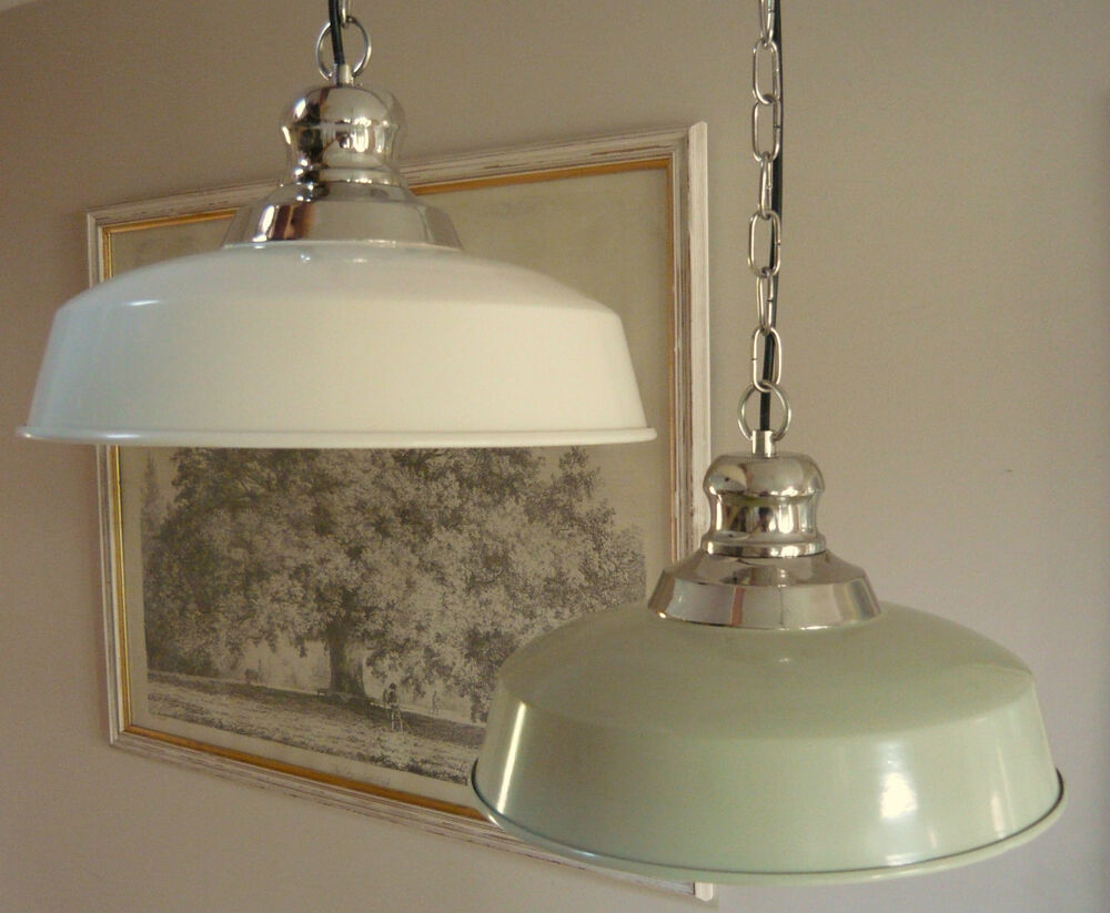 Cream Vintage Enamel Style Ceiling Lamp Light Shade Bistro