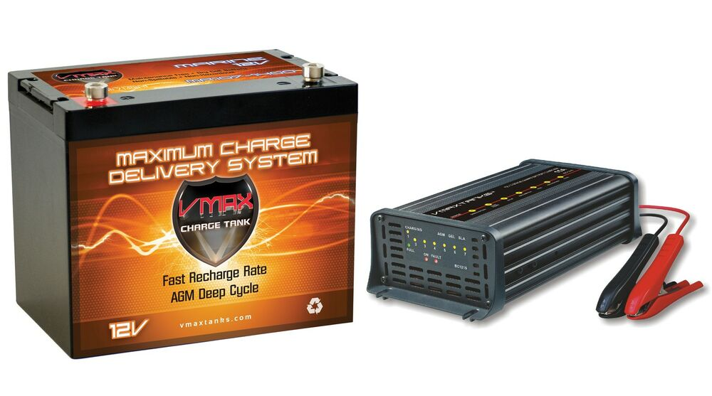 Vmax mr107 12v agm battery charger for minn kota for Marine trolling motor batteries
