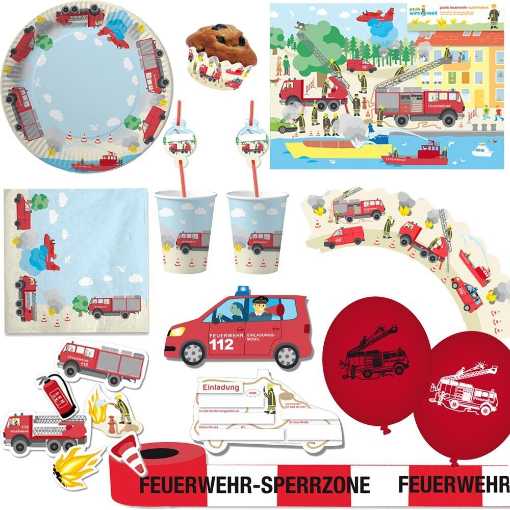 party feuerwehr kindergeburtstag motto geburtstags deko sets kinder mann kreativ ebay. Black Bedroom Furniture Sets. Home Design Ideas