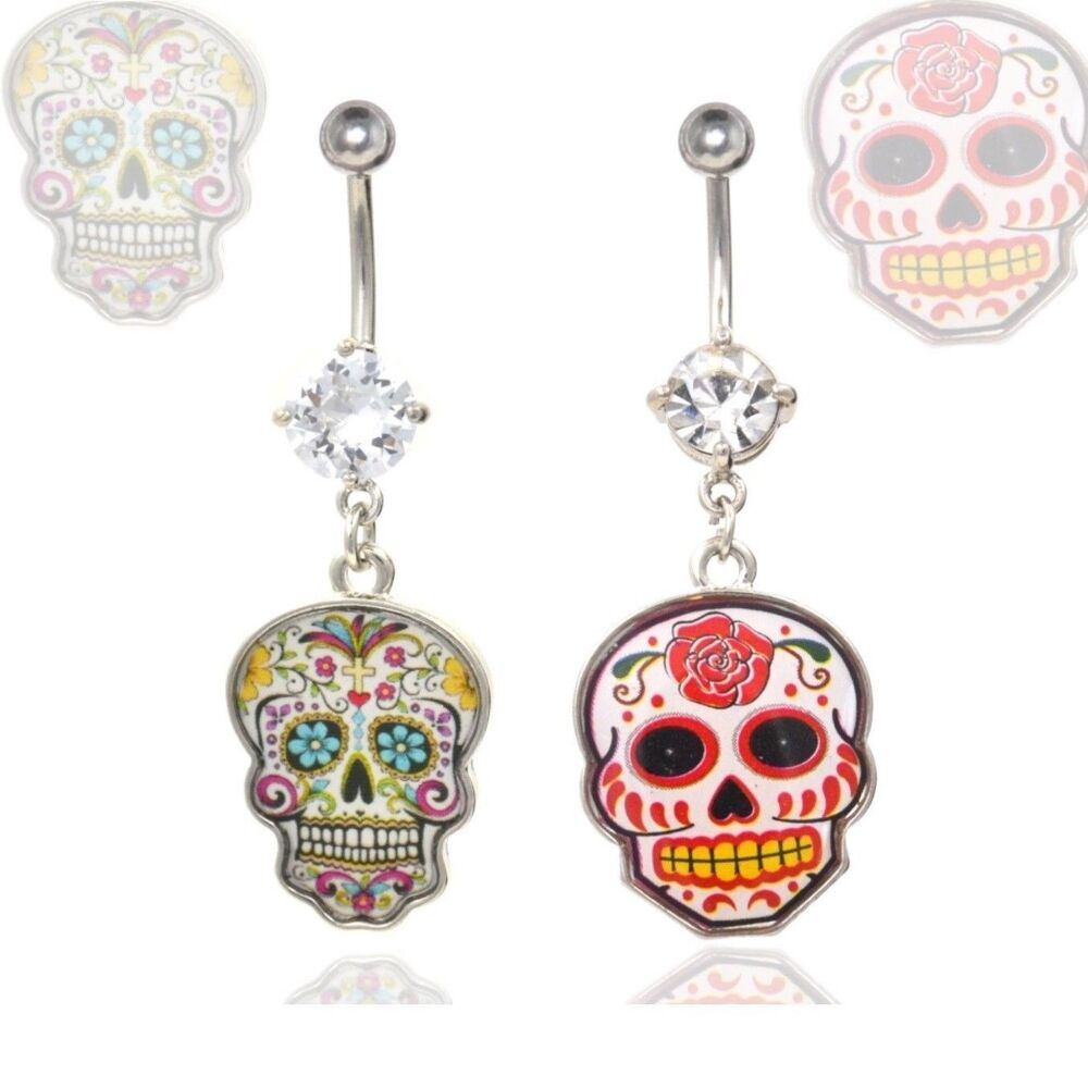 Mexican sugar skull belly button ring 14g 3 8 day of the for Day of the dead body jewelry