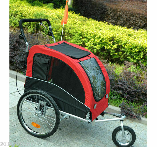 pawhut bike trailer foldable pet dog stroller jogger large. Black Bedroom Furniture Sets. Home Design Ideas