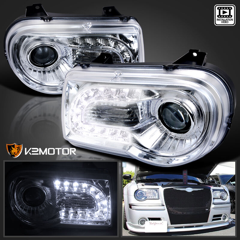 2005 2010 chrysler 300c chrome led drl strip projector. Black Bedroom Furniture Sets. Home Design Ideas