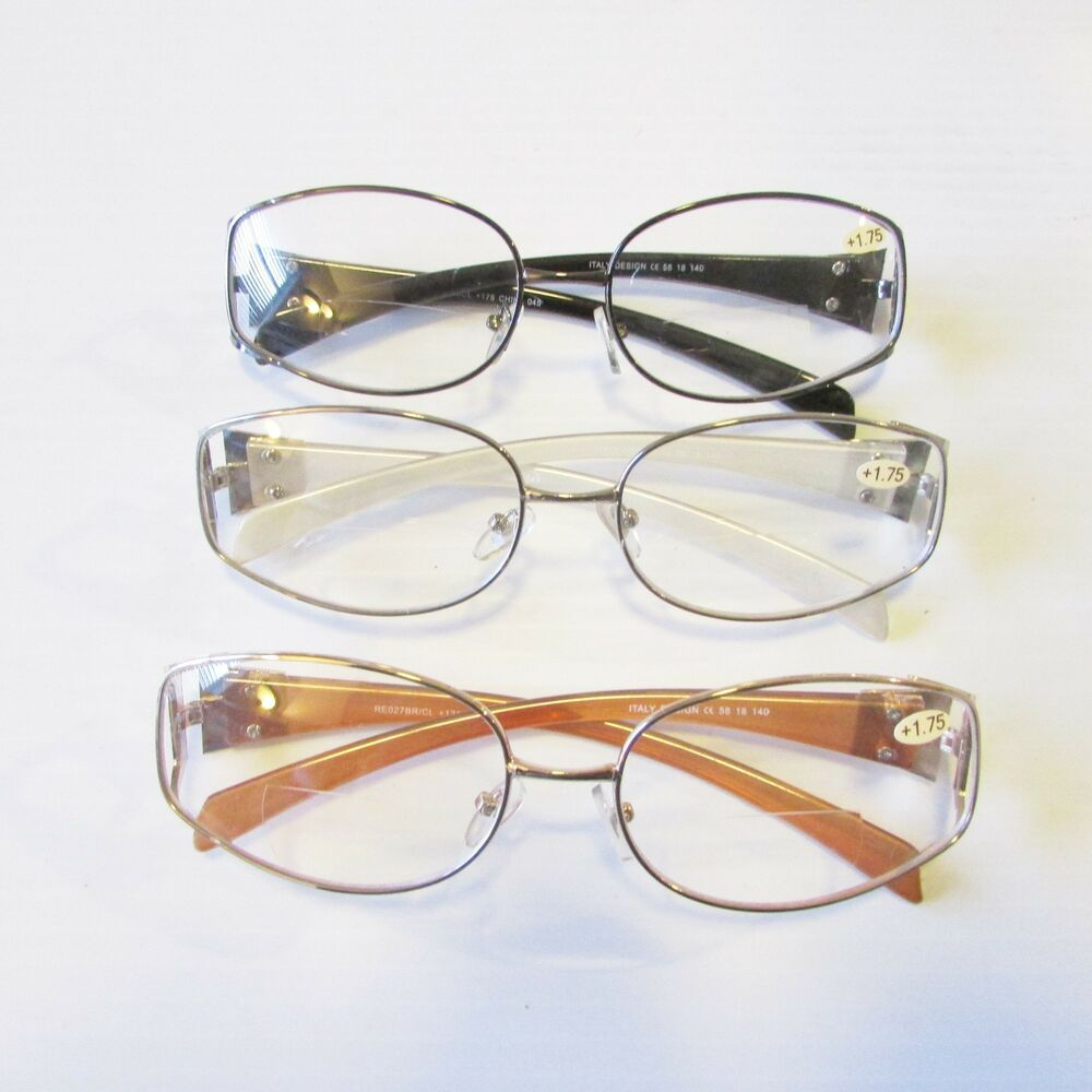 3 Lady BIFOCAL READING GLASSES Full size Frame Premium ...