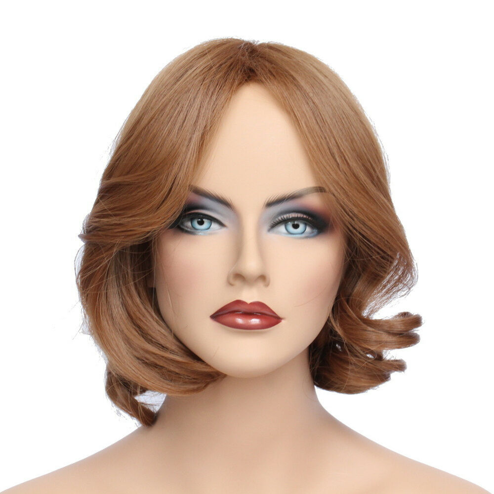 Classic Cap women Synthetic Curly Wavy Short Light Brown full wig HengFeng ZP13 | eBay