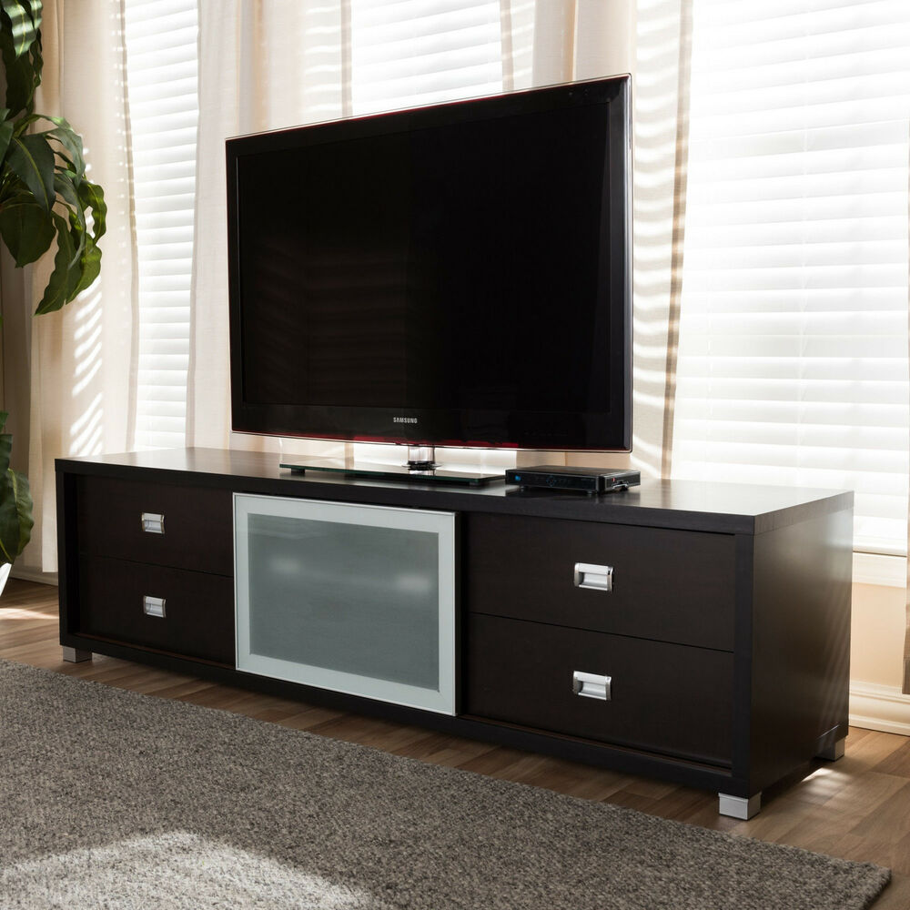 botticelli brown modern tv stand with frosted glass door. Black Bedroom Furniture Sets. Home Design Ideas