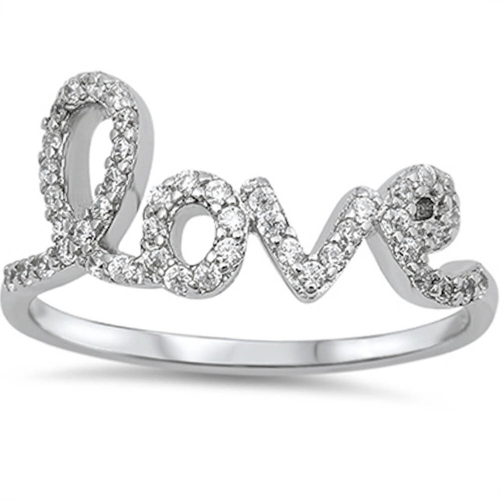 Cz Love Fashion  Sterling Silver Ring Sizes   Ebay