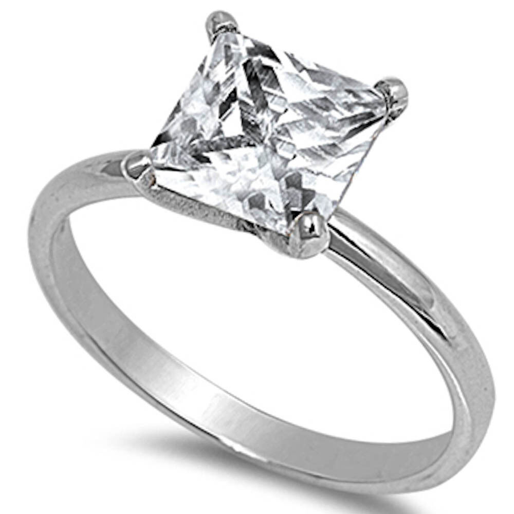 3ct princess cut engagement solitaire 925 sterling silver
