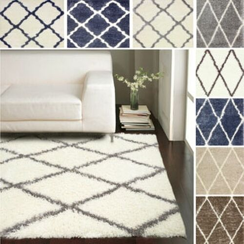 8x10 Area Rugs Gray And White: NuLOOM Ivory Contemporary Moroccan Trellis Plush Shag Area