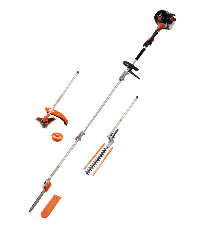 5in1 Petrol Long Reach 52cc Hedge Trimmer Strimmer Brush