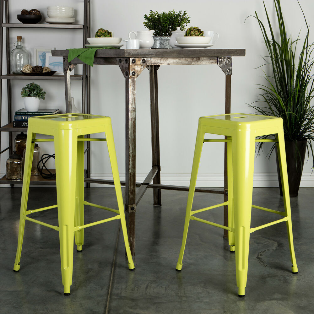Tabouret 30 Inch Limeade Metal Bar Stools Set Of 2 EBay