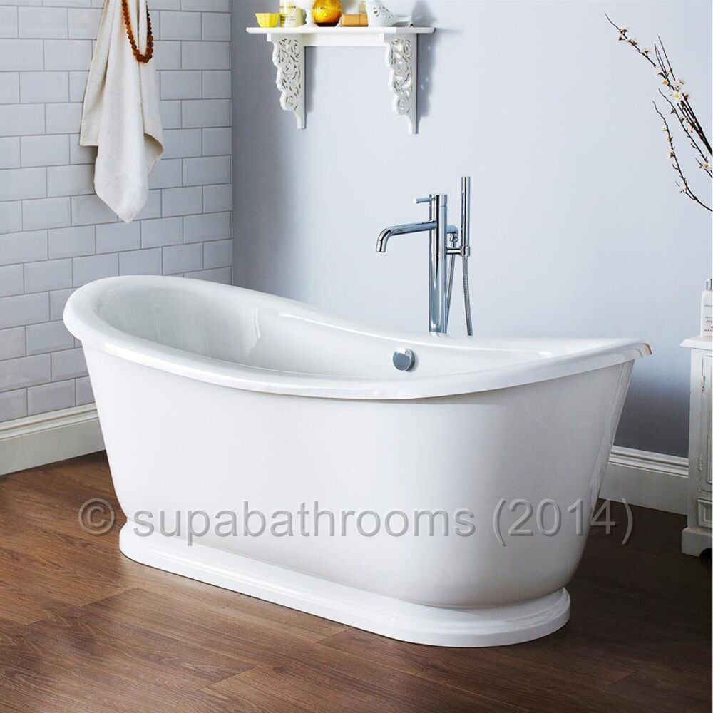 Alice Freestanding Contemporary Double Ended Roll Top Acrylic Slipper Bath