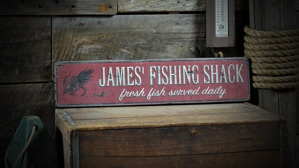 Custom fishing shack fish sign rustic hand made vintage for Vintage fishing signs