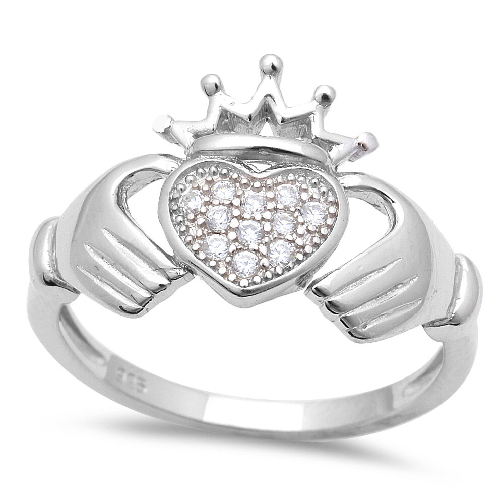 pave cz irish heart claddagh 925 sterling silver ring. Black Bedroom Furniture Sets. Home Design Ideas