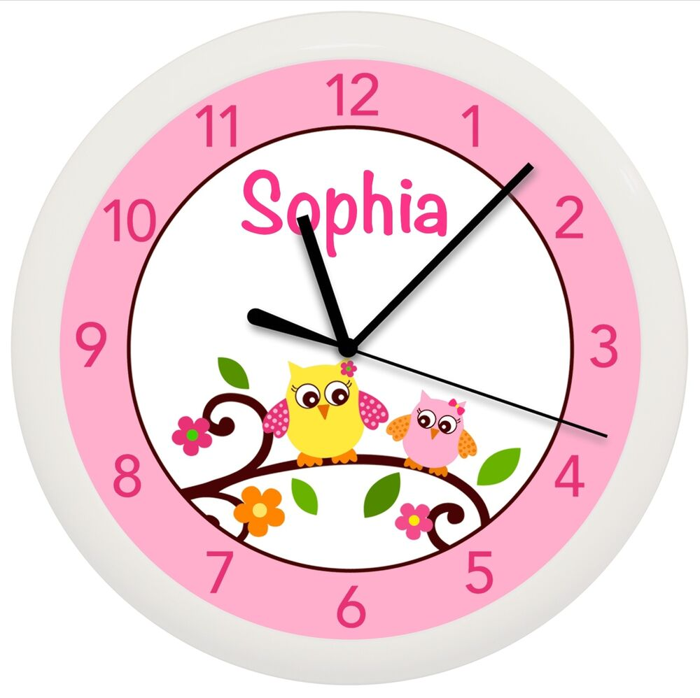 Bedroom Wall Clock Design : Mod owl nursery wall clock personalized gift decor