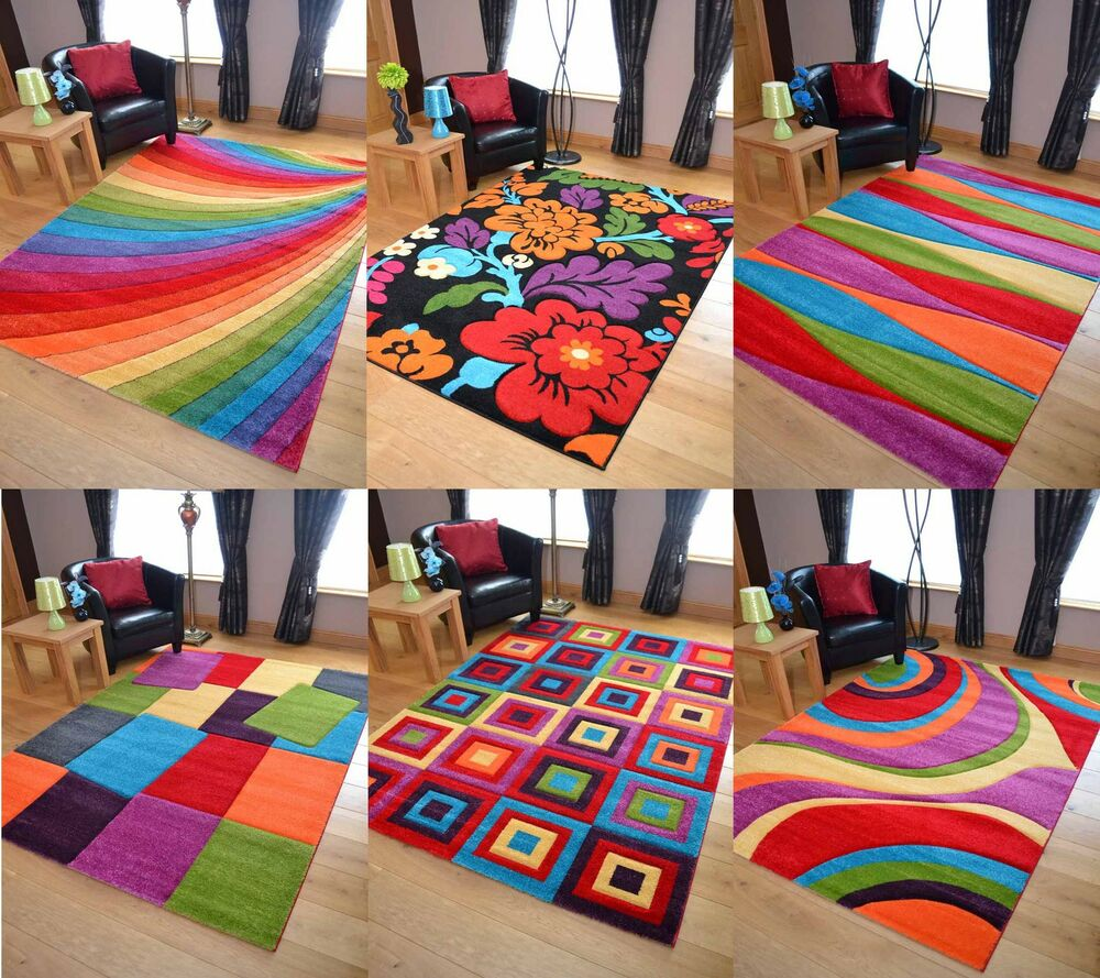 bright modern vibrant coloured thick luxurious soft pile floor rugs carpets mats ebay. Black Bedroom Furniture Sets. Home Design Ideas