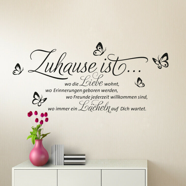 wandtattoo wandsticker wandaufkleber flur spruch zuhause liebe wohnzimmer w1133 ebay. Black Bedroom Furniture Sets. Home Design Ideas