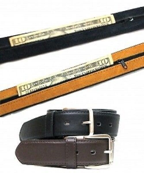 nwt s leather travel belt with zippered