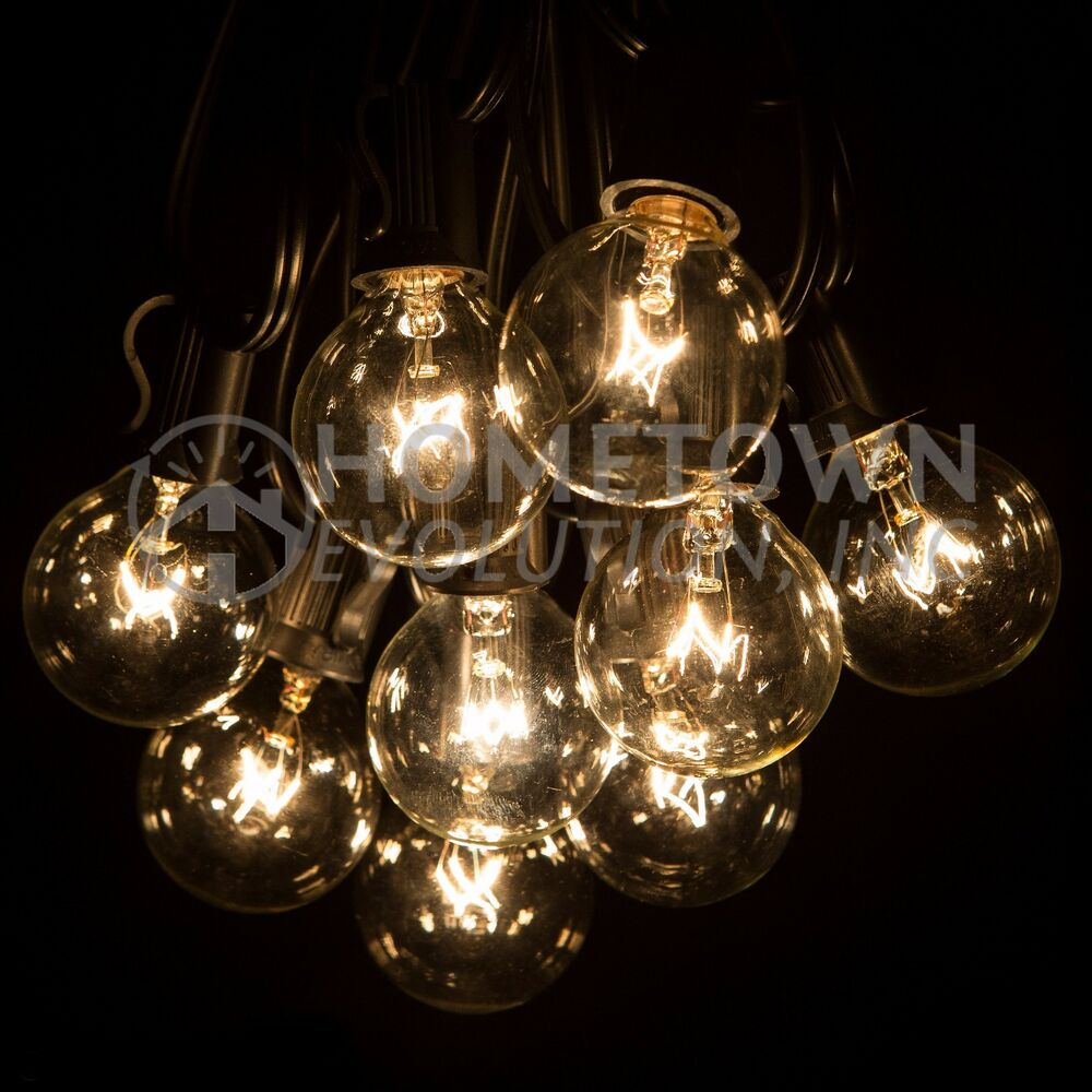 Outdoor String Lights Large Bulbs : 25 Foot Outdoor Globe Patio String Lights - Set of 25 G40 Clear Bulbs eBay
