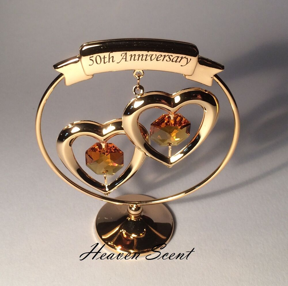 Ideas For 50th Wedding Anniversary Present : 50th Golden Wedding Anniversary Gift Ideas Gold Plated+ Swarovski ...