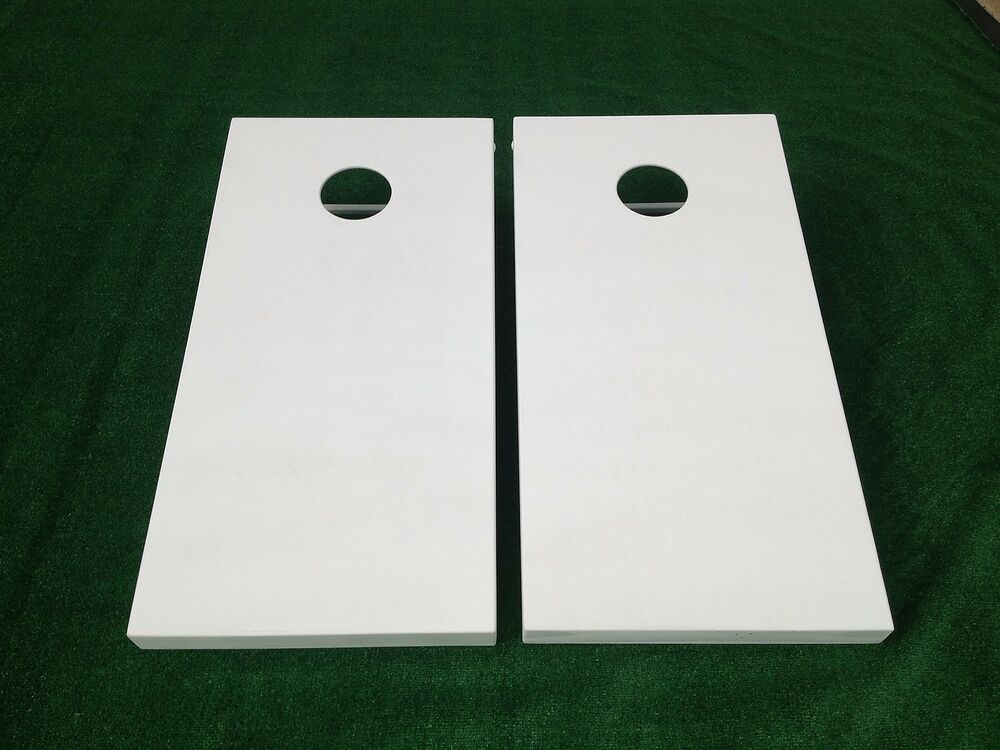 White Painted Cornhole Boards Set Bean Bag Toss 8 Aca