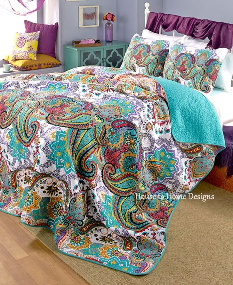 100 Cotton Paisley 3pc Full Queen Quilt Set Teal
