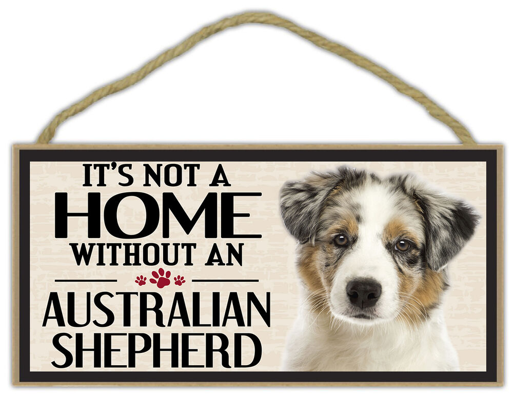 wood sign it 39 s not a home without an australian shepherd. Black Bedroom Furniture Sets. Home Design Ideas