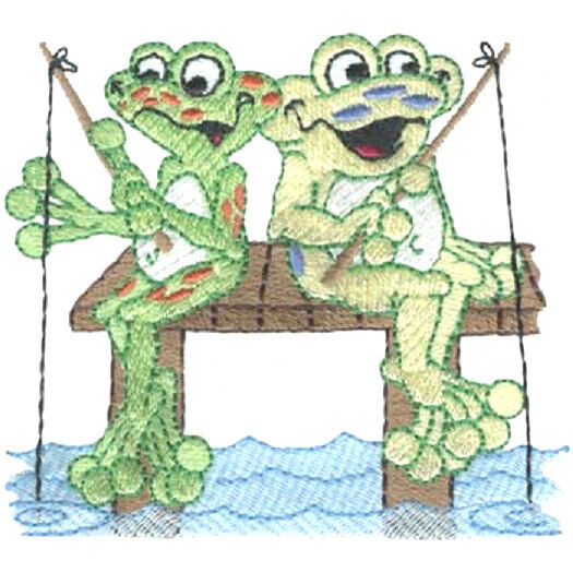 FROGS FISHING SET OF 2 BATH HAND TOWELS EMBROIDERED BY
