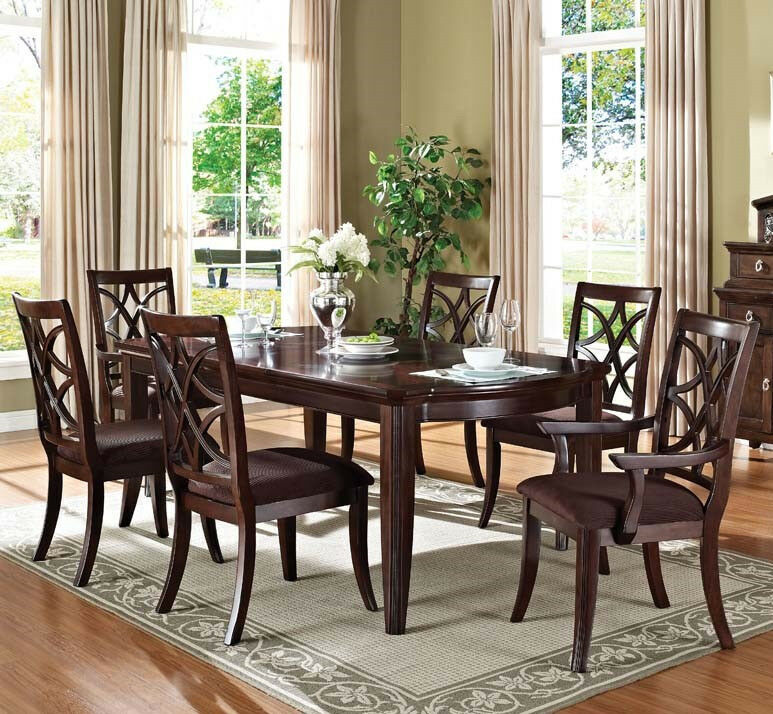 Formal dining table set with 7pcs dining table and chairs for Formal dining room table and chairs