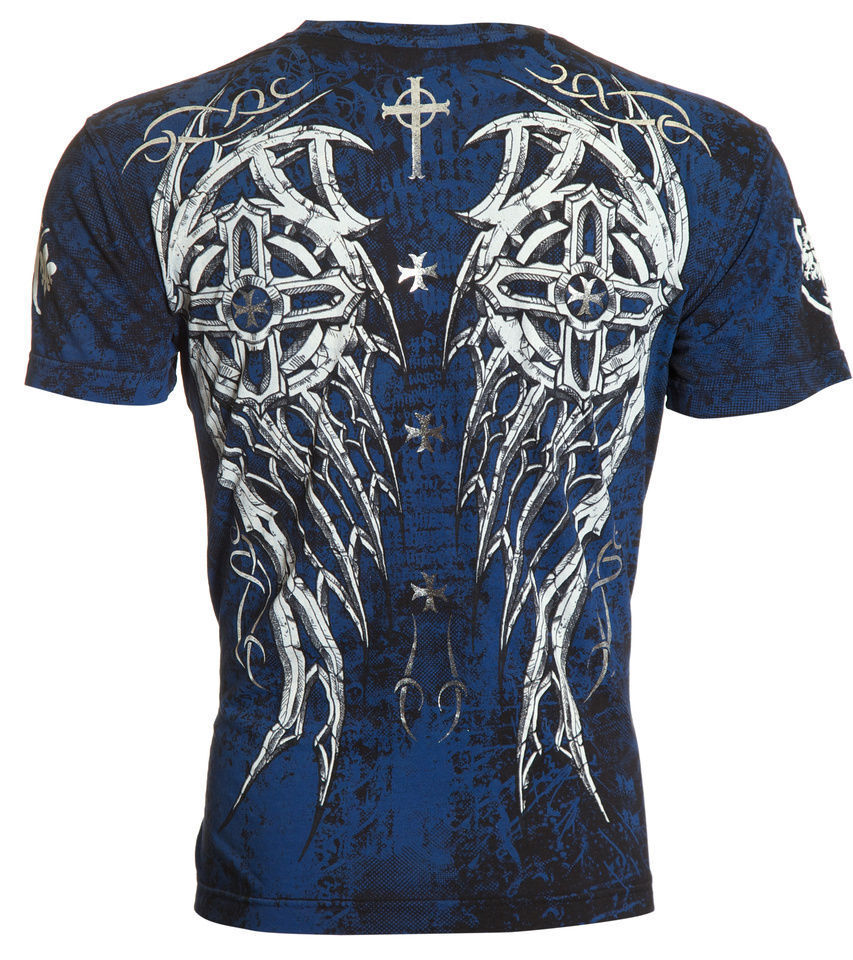 Archaic affliction mens t shirt spike wings cross tattoo for Shirts with graphics on the back