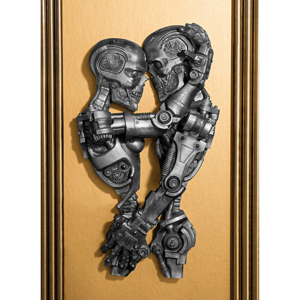 Steampunk victorian industrial lovers machine embrace wall sculpture art ebay - Sculpture wall decor ...