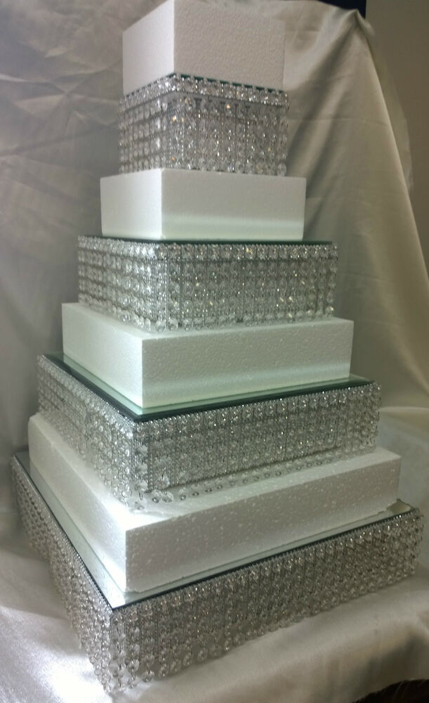 square cake stands for wedding cakes diamante wedding cake stands stacked tiers in 20356
