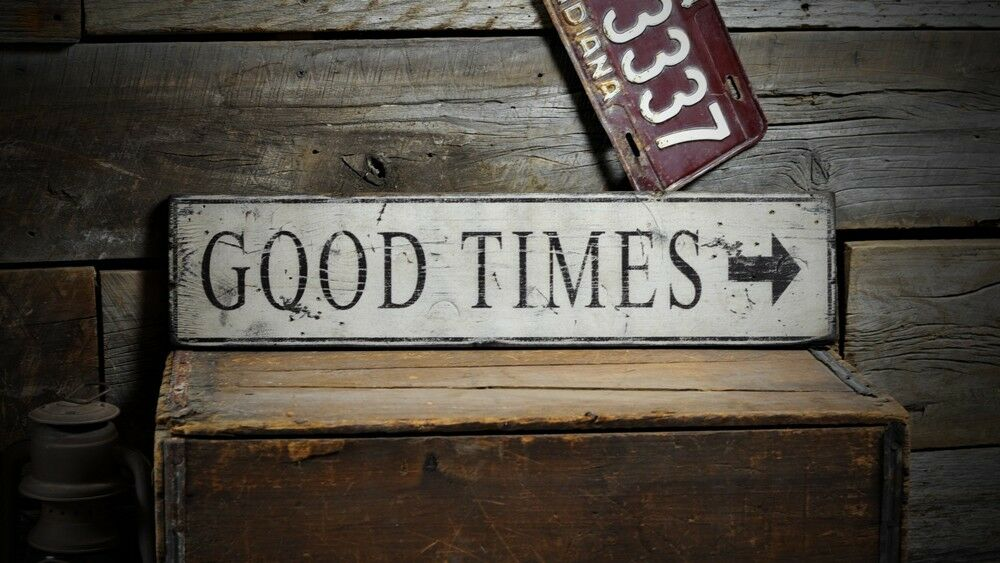 distressed good times directional sign rustic hand made vintage wood ens1000548 ebay. Black Bedroom Furniture Sets. Home Design Ideas