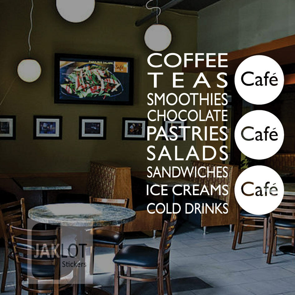 Coffee Tea Sandwiches Cafe Vinyl Window Wall Sticker