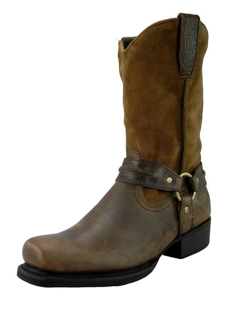 harley davidson men stan boots motorcycle riding leather brown